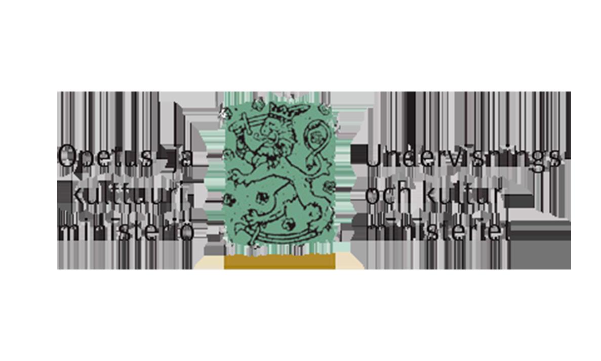 Opetus - ja kulttuuriministeriön leijonallinen logo suomeksi sekä ruotsiksi